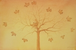Lettore sull'albero - Acquerello - Franco Grobberio